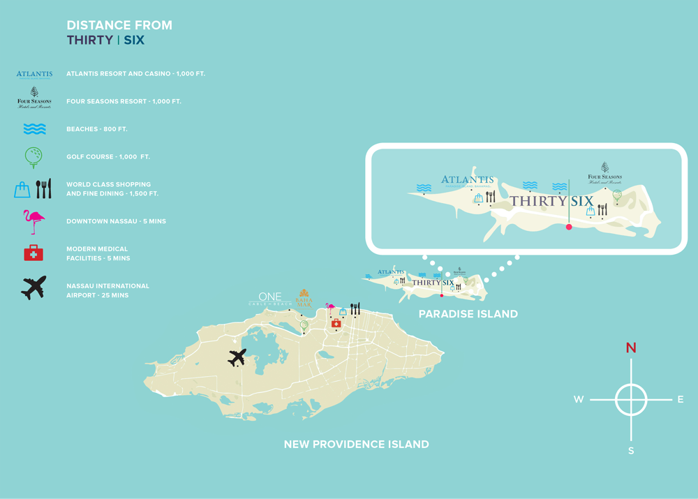 Thirty Six Location Map - The Bahamas