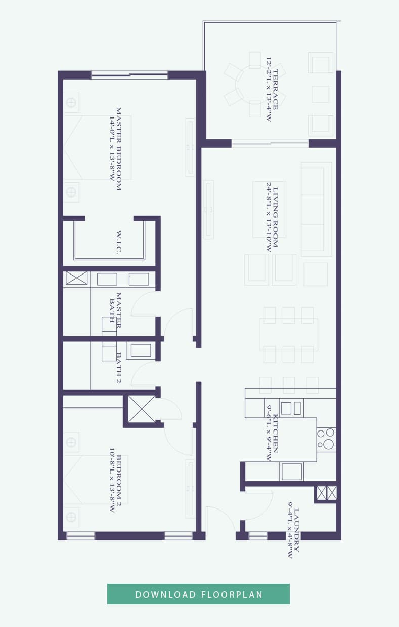 2 bedroom interior floorplan - thirty six paradise island luxury condo